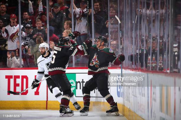 Michael Grabner of the Arizona Coyotes celebrates with Brad Richardson after scoring a goal against the Los Angeles Kings during the third period of...