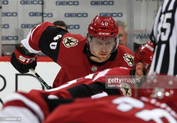 Michael Grabner of the Arizona Coyotes gets ready during a face off against the Minnesota Wild at Gila River Arena on December 19, 2019 in Glendale,...