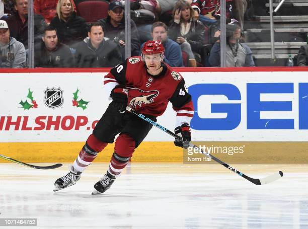 Michael Grabner of the Arizona Coyotes skates up ice against the Vegas Golden Knights at Gila River Arena on November 21, 2018 in Glendale, Arizona.