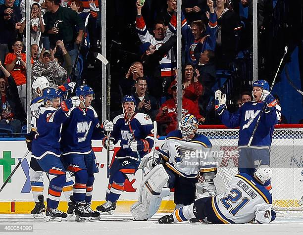 Michael Grabner of the New York Islanders celebrates his goal at 1939 of the first period against the St Louis Blues at the Nassau Veterans Memorial...