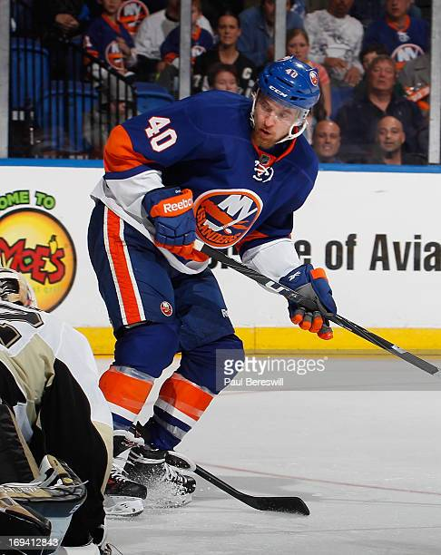 Michael Grabner of the New York Islanders skates against the Pittsburgh Penguins in Game Six of the Eastern Conference Quarterfinals during the 2013...