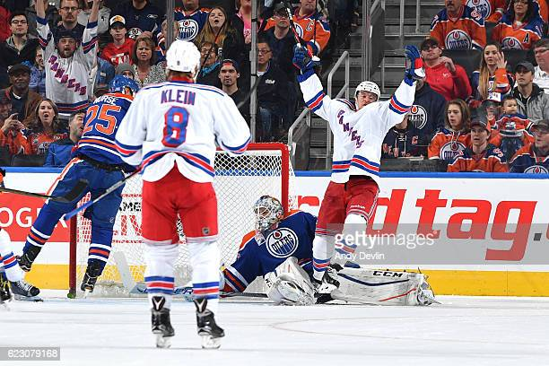 Michael Grabner of the New York Rangers celebrates after a goal during the game against the Edmonton Oilers on November 13 2016 at Rogers Place in...
