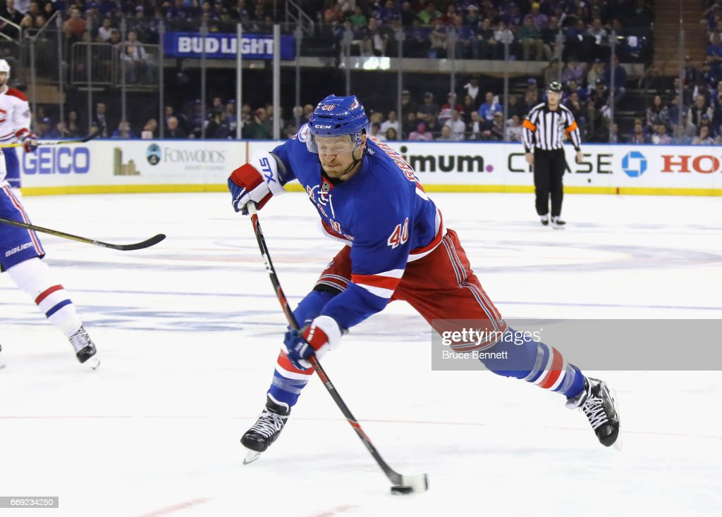Michael Grabner #40 of the New York Rangers skates against the Montreal Canadiens in Game Three of the Eastern Conference First Round during the 2017 NHL Stanley Cup Playoffs at Madison Square Garden on April 16, 2017 in New York City. The Canadiens defeated the Rangers 3-1.