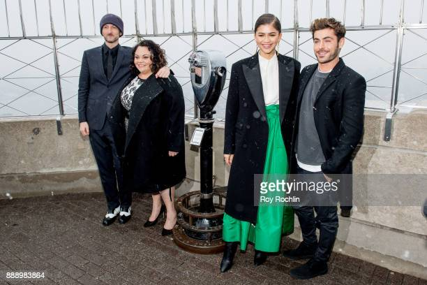 Michael Gracey Keala Settle Zac Efron and Zendaya attend the cast of 'The Greatest Showman' light the Empire State Building at The Empire State...
