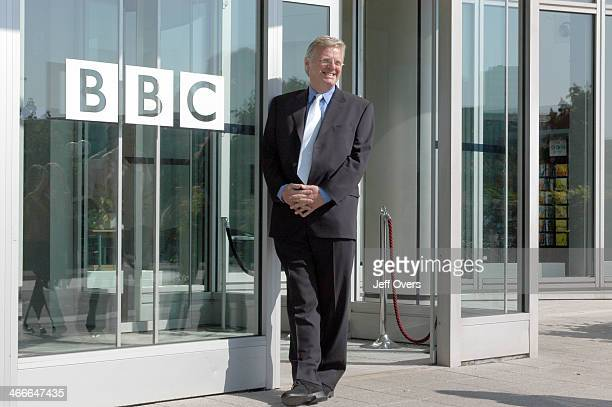 Michael Grade stands by the doorway of the BBC White City building with the BBC logo visible next to him on his first morning as the Chairman of the...