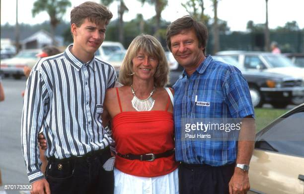 Michael Graf younger brother Heidi Schalk and Peter Graf the parents of Steffi Graf photographed March 20 1985 near Delray Beach Florida