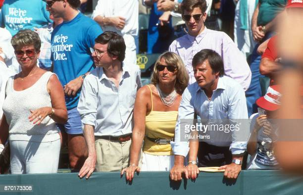 Michael Graf younger brother Heidi Schalk and Peter Graf the parents of Steffi Graf watch Steffi Graf play in a tennis tournament March 20 1985 near...