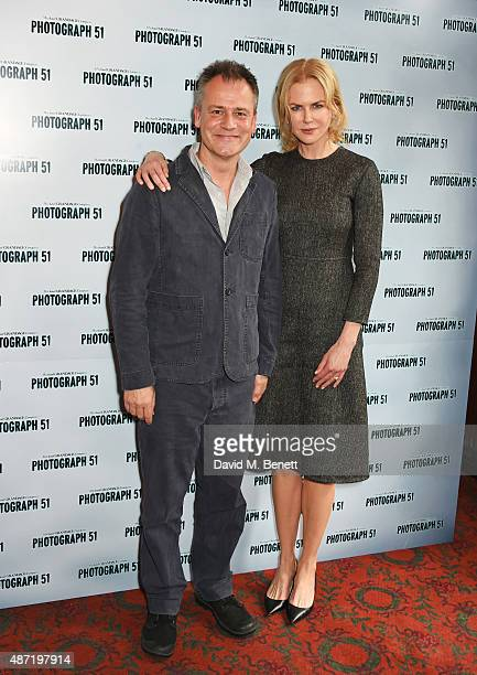 Michael Grandage and Nicole Kidman pose at a photocall for the Michael Grandage Company's production of Photograph 51 at the Noel Coward Theatre on...
