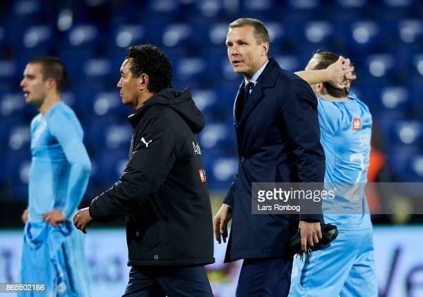 Michael Gravgaard director of Randers FC speaks to Ricardo Moniz head coach of Randers FC after the Danish Alka Superliga match between Randers FC...