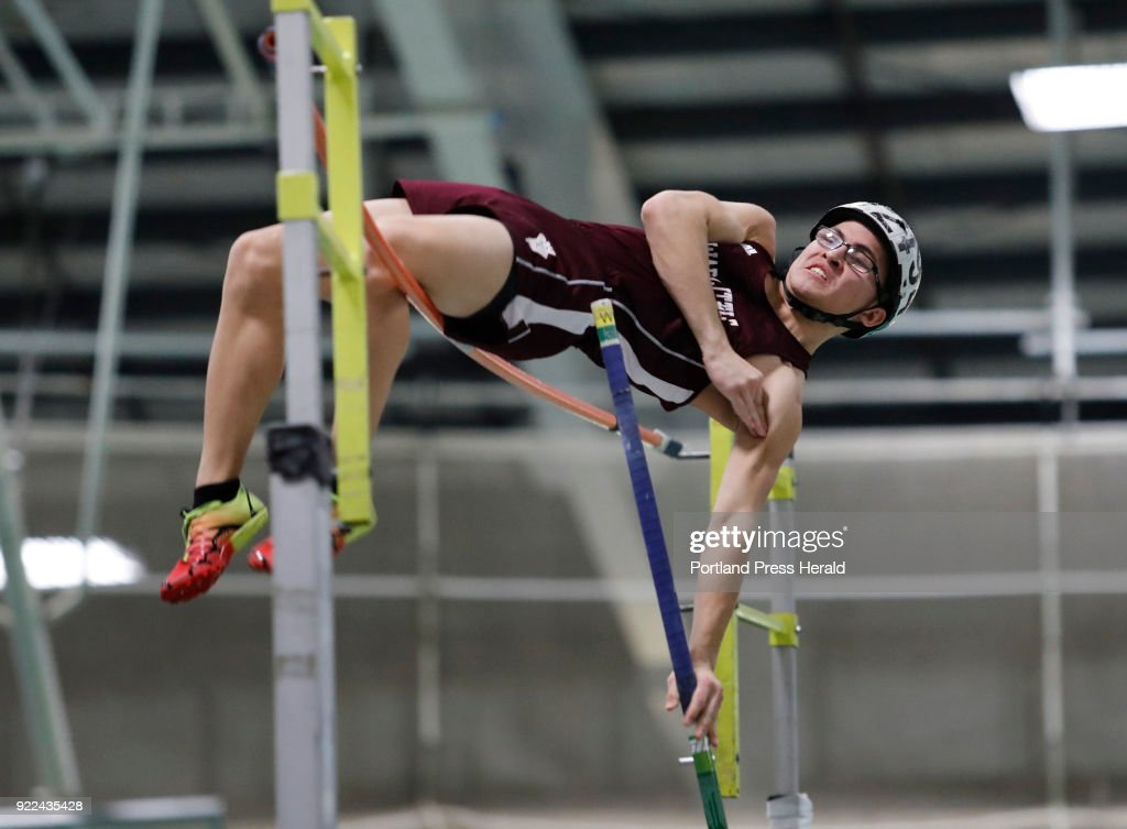 Michael Gray, of Edward Little, pole vaults during the Maine Class A Track and Field Championship Monday, Feb. 19, 2018 in Gorham, Maine.