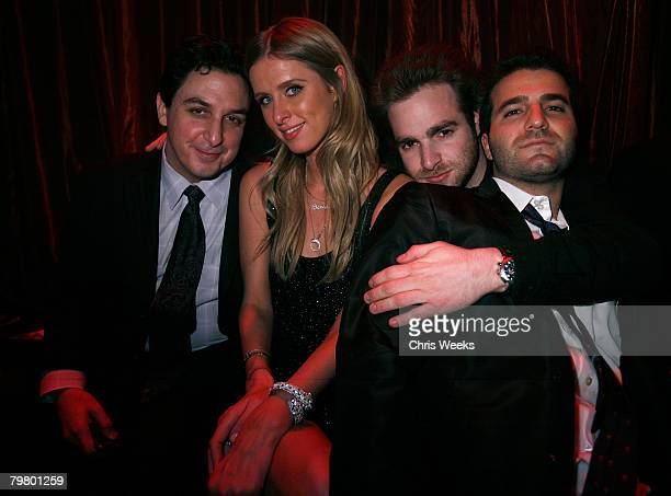 Michael Greco from left Nicky Hilton Jon Alagem and David Katzenberg attend the launch of Nicholai and Chick Collections 2008 at LAX Nightclub on...