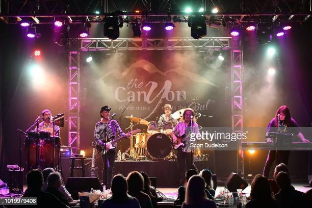 Michael Green Eric Barnett Ray Weston Dave Meros and Martin Gerschwitz of the classic rock band Iron Butterfly perform onstage at The Canyon on...