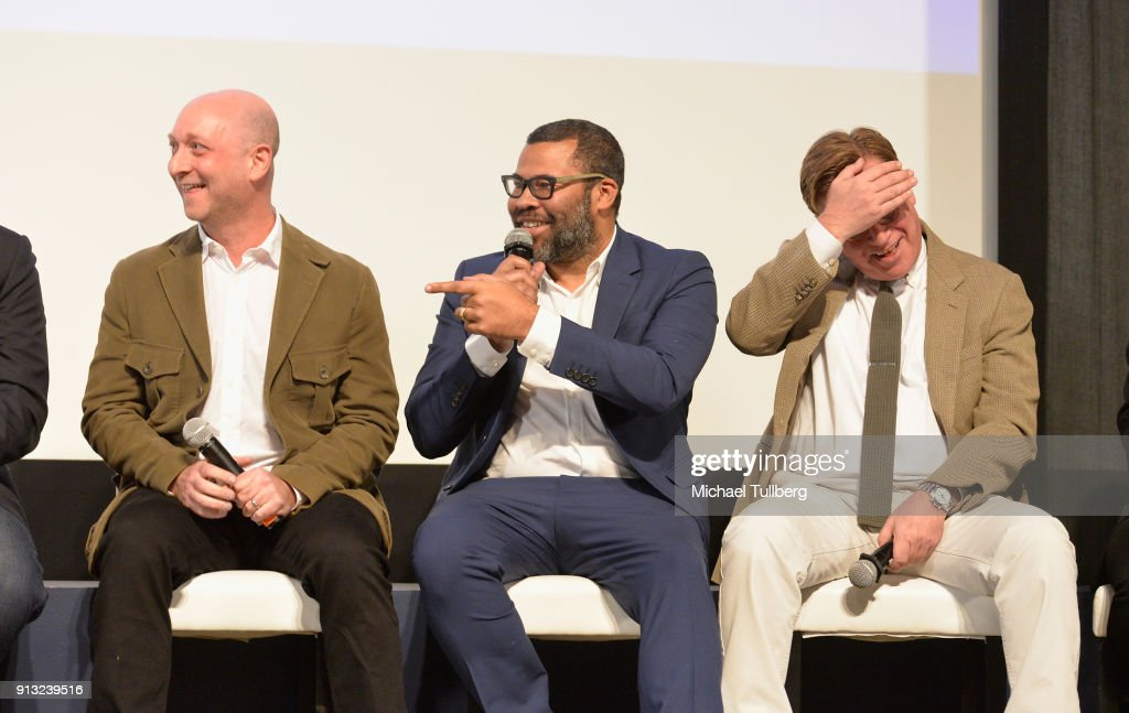 Michael Green, Jordan Peele and Aaron Sorkin speak at the Writers Guild's 'Beyond Words 2018' at Writers Guild Theater on February 1, 2018 in Beverly Hills, California.