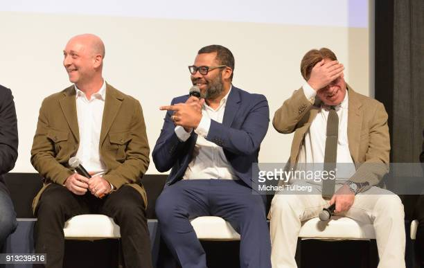 Michael Green Jordan Peele and Aaron Sorkin speak at the Writers Guild's 'Beyond Words 2018' at Writers Guild Theater on February 1 2018 in Beverly...