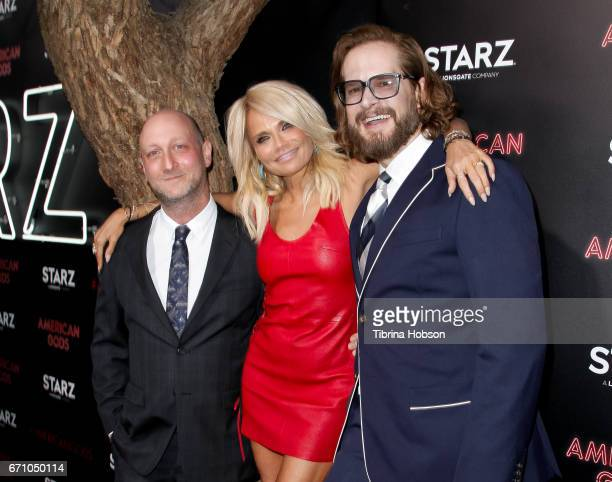 Michael Green, Kristin Chenoweth and Bryan Fuller attend the premiere of Starz's 'American Gods' at ArcLight Cinemas Cinerama Dome on April 20, 2017...