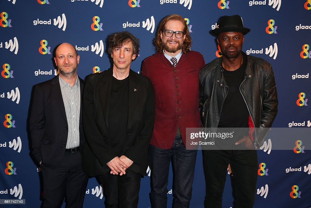 Michael Green, Neil Gaiman, Bryan Fuller and Chris Obi arrive at the 'American Gods' advance screening In Partnership With GLAAD at The Paley Center for Media on May 10, 2017 in Beverly Hills, California.