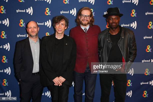 """Michael Green, Neil Gaiman, Bryan Fuller and Chris Obi arrive at the """"American Gods"""" advance screening In Partnership With GLAAD at The Paley Center..."""