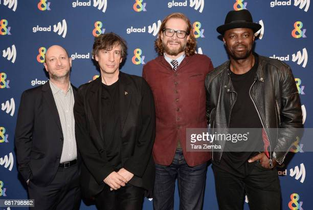 Michael Green, Neil Gaiman, Bryan Fuller and Chris Obi arrive at the 'American Gods' advance screening In Partnership With GLAAD at The Paley Center...