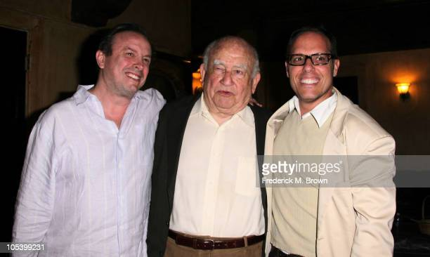 Michael Greene actor Ed Asner and Perry Zilmel attend the opening night for the play FDR and the reopening of The Pasadena Playhouse on October 13...