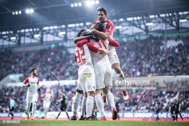 AUGSBURG GERMANY FEBRUARY Image has been digitally enhanced Michael Gregoritsch of Augsburg celebrates a disallowed goal with his team mates during...