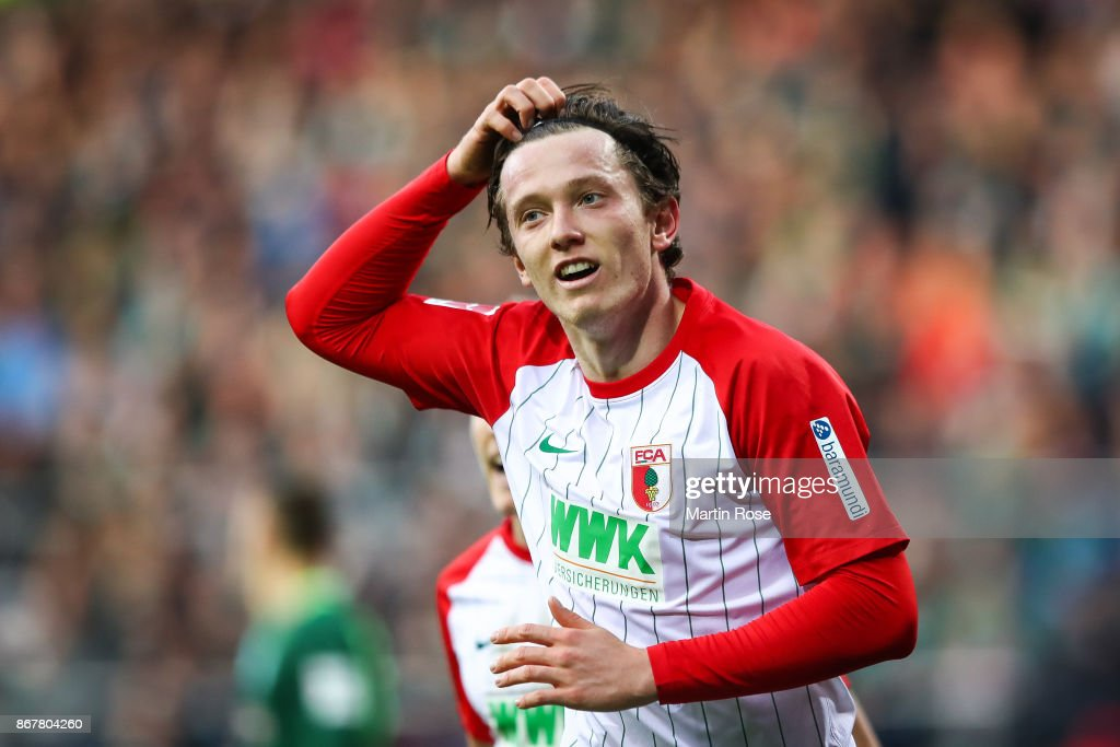 Michael Gregoritsch of Augsburg celebrates after scoring his team's first goal to make it 0-1 during the Bundesliga match between SV Werder Bremen and FC Augsburg at Weserstadion on October 29, 2017 in Bremen, Germany.