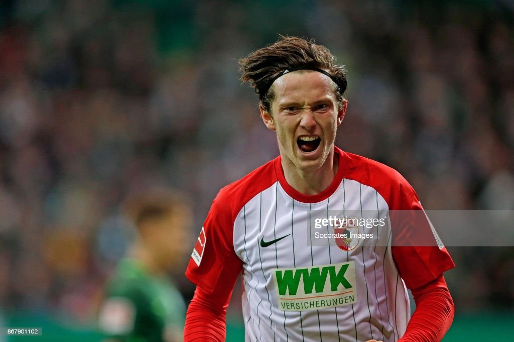 Michael Gregoritsch of Augsburg during the German Bundesliga match between Werder Bremen v FC Augsburg at the Weser Stadium on October 29, 2017 in Bremen Germany