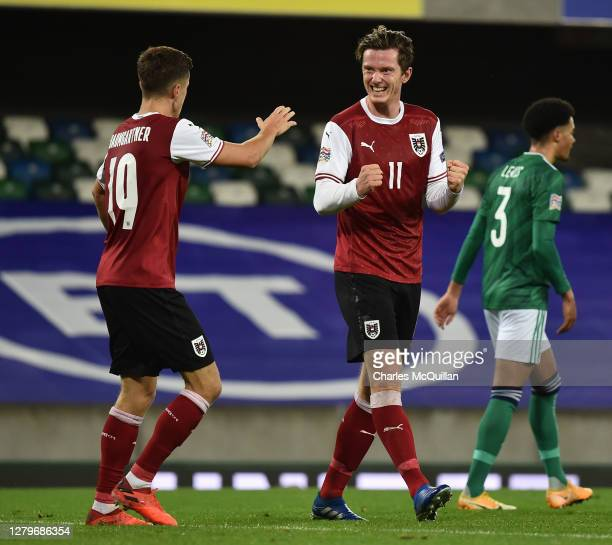 Michael Gregoritsch of Austria celebrates after scoring his team's first goal during the UEFA Nations League group stage match between Northern...