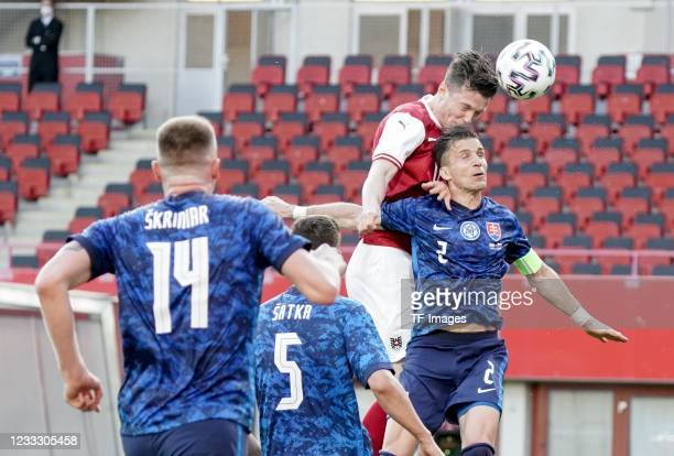 Michael Gregoritsch of Austria, Peter Pekarik of Slovakia battle for the ball during the international friendly match between Austria and Slovakia at...