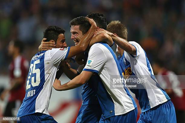 Michael Gregoritsch of Bochum celebrates the first goal with Onur Bulut of Bochum during the Second Bundesliga match between VfL Bochum and 1 FC...