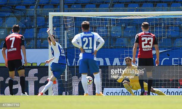 Michael Gregoritsch of Bochum scores his team's first goal by a penalty past goalkeeper Ramazan Oezcan of Ingolstadt during the Second Bundesliga...