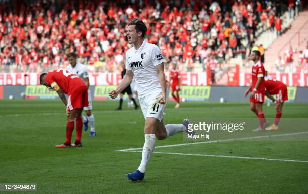 Michael Gregoritsch of FC Augsburg celebrates after scoring his team's second goal during the Bundesliga match between 1. FC Union Berlin and FC...