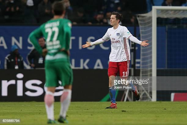 Michael Gregoritsch of Hamburg celebrates after scoring his team's second goal during the Bundesliga match between Hamburger SV and Werder Bremen at...