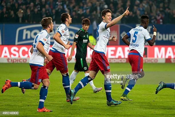 Michael Gregoritsch of Hamburg celebrates after scoring their first goal during the First Bundesliga match between Hamburger SV and Hannover 96 at...