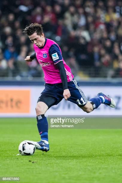 Michael Gregoritsch of Hamburg controls the ball during the Bundesliga match between Eintracht Frankfurt and Hamburger SV at CommerzbankArena on...