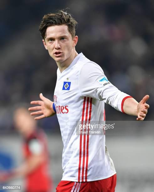 Michael Gregoritsch of Hamburg reacts during the Bundesliga match between Hamburger SV and SC Freiburg at Volksparkstadion on February 18, 2017 in...