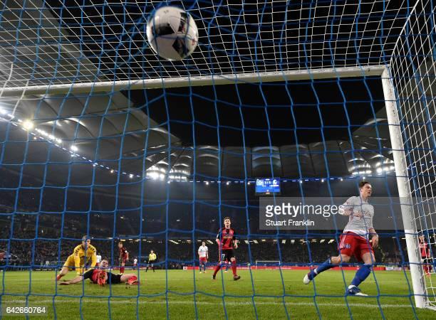 Michael Gregoritsch of Hamburg scores the second goal during the Bundesliga match between Hamburger SV and SC Freiburg at Volksparkstadion on...