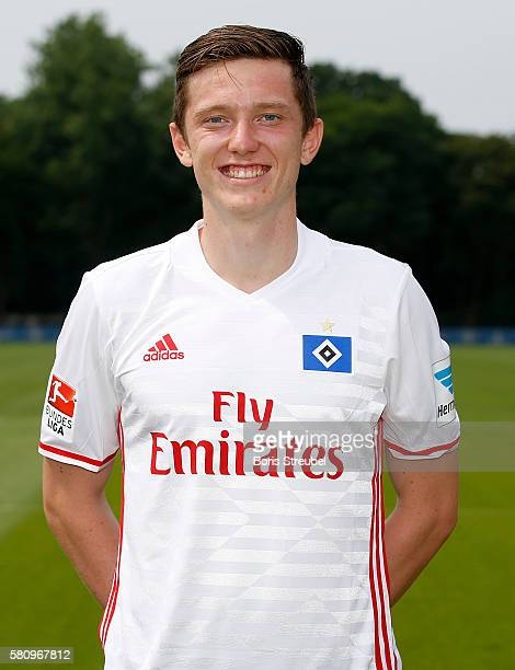 Michael Gregoritsch of Hamburger SV poses during the Hamburger SV Team Presentation at Volksparkstadion on July 25 2016 in Hamburg Germany