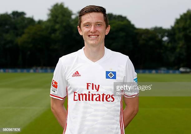 Michael Gregoritsch of Hamburger SV poses during the Hamburger SV Team Presentation at Volksparkstadion on July 25 2016 in Hamburg Germany