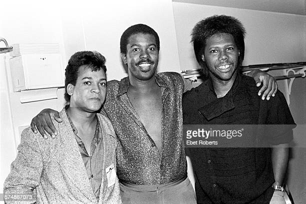 Michael Gregory Jackson Kashif and Nile Rodgers backstage at a Kashif and AshfordSimpson show at Radio City Music Hall in New York City on September...