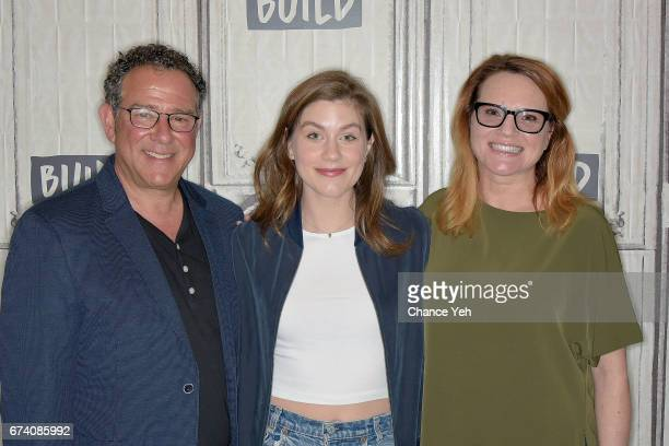 Michael Greif Laura Dreyfuss and Jennifer Laura Thompson attend Build series to discuss 'Dear Evan Hansen' at Build Studio on April 27 2017 in New...