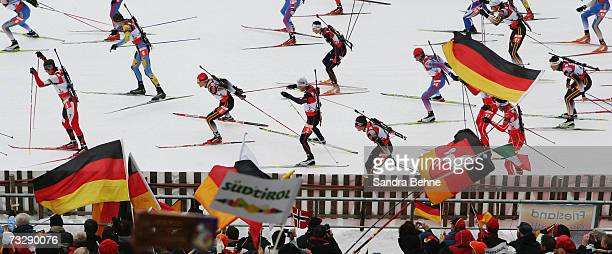 Michael Greis of Germany competes after the start of the Men's 15 km Mass Start in the Biathlon World Championships on February 11 2007 in Anterselva...