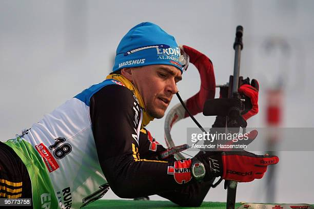 Michael Greis of Germany competes during the Men's 10km Sprint in the e.on Ruhrgas IBU Biathlon World Cup on January 14, 2010 in Ruhpolding, Germany.