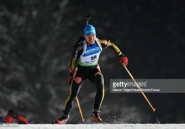 Michael Greis of Germany competes during the men's sprint in the e.on Ruhrgas IBU Biathlon World Cup on January 14, 2010 in Ruhpolding, Germany.