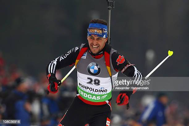 Michael Greis of Germany competes in the men's 10 km sprint event during the eon IBU Biathlon World Cup at the Chiemgau Arena on January 14 2011 in...