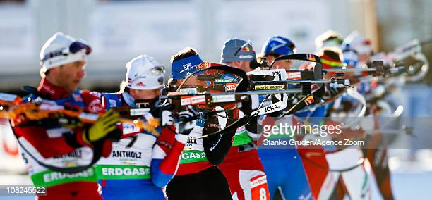 Michael Greis of Germany in action during the IBU World Cup Biathlon Men's 15 km Mass Start on January 22 2011 in AntholzAnterselva Italy