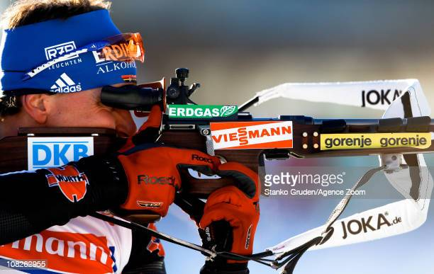 Michael Greis of Germany in action during the IBU World Cup Biathlon Men's 4x75 km Relay on January 23 2011 in AntholzAnterselva Italy