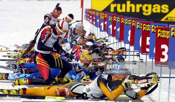 Michael Greis of Germany prepares to leave the shooting area during the Ruhrgas World Cup Men's Biathlon at Solider Hollow 03 March 2001 outside...
