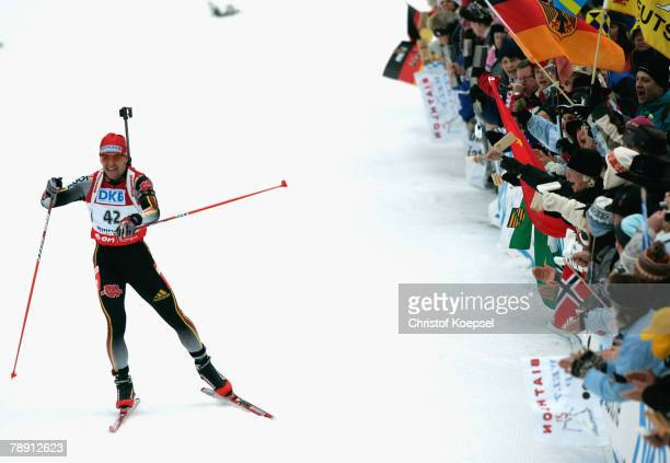 Michael Greis of Germany skates during the Men 10 km sprint competition of the IBU Biathlon World Cup on January 12, 2008 in Ruhpolding, Germany.