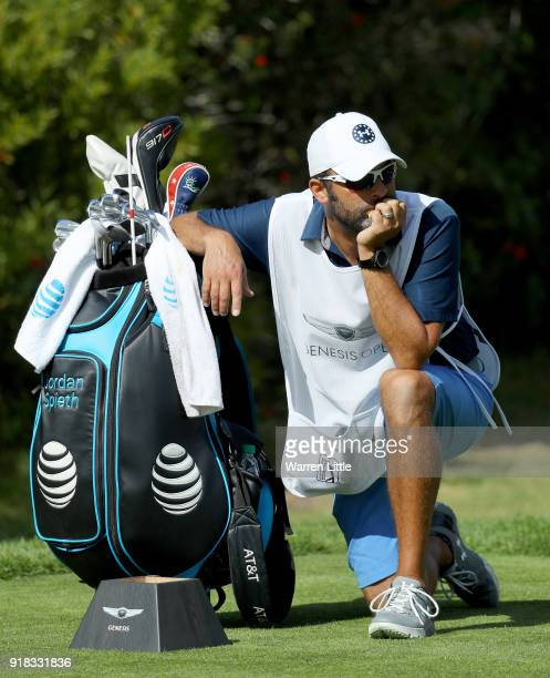 Michael Greller caddie for Jordan Spieth looks on during the ProAm of the Genesis Open at the Riviera Country Club on February 14 2018 in Pacific...