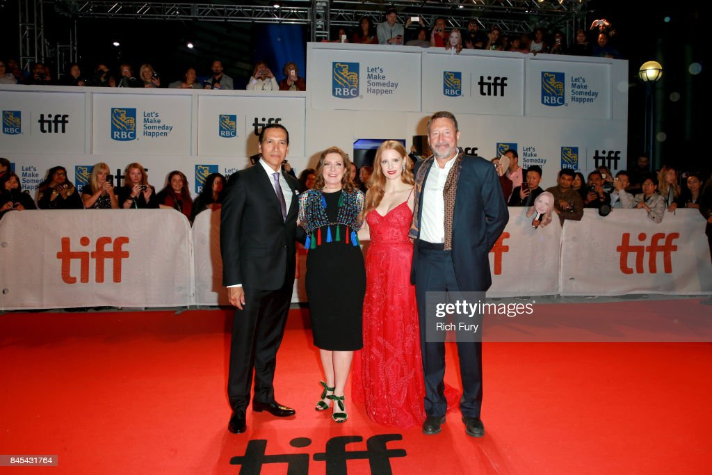Michael Greyeyes, Susanna White, Jessica Chastain and Steven Knight attend the 'Woman Walks Ahead' premiere during the 2017 Toronto International Film Festival at Roy Thomson Hall on September 10, 2017 in Toronto, Canada.